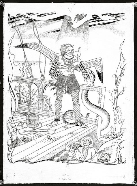 Leo Bensemann The Rime of the Ancient Mariner c. 1952. Ink on paper. Collection of Christchurch Art Gallery Te Puna o Waiwhetū, purchased 2005