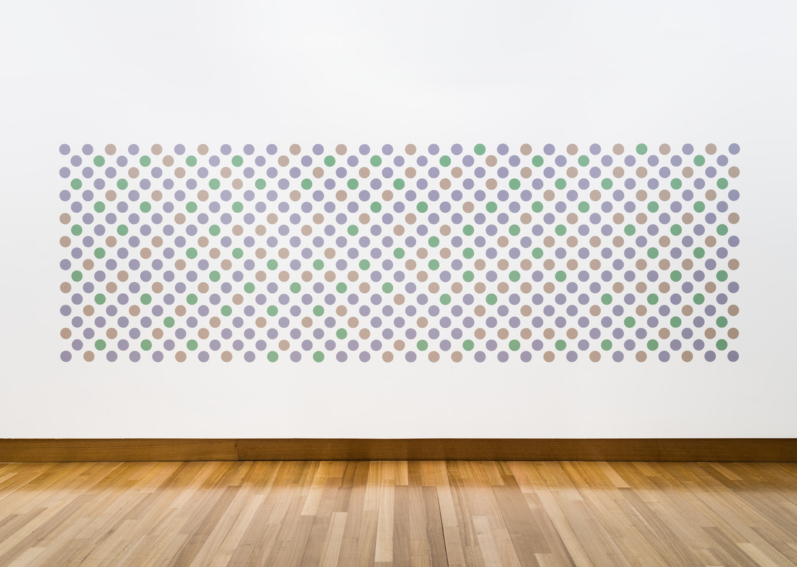 Bridget Riley Cosmos 2016–17. Graphite and acrylic on plaster. Collection of Christchurch Art Gallery Te Puna o Waiwhetū, acquired through the Christchurch Art GalleryFoundation with the generous help of Heather Boock; Ros Burdon; Kate Burtt; Dame Jenny Gibbs; Ann de Lambert and daughters, Sarah, Elizabeth, Diana, and Rachel;Barbara, Lady Stewart; Gabrielle Tasman; Jenny Todd; Nicky Wagner; and the Wellington Women's Group (est. 1984). © Bridget Riley 2017. All rights reserved