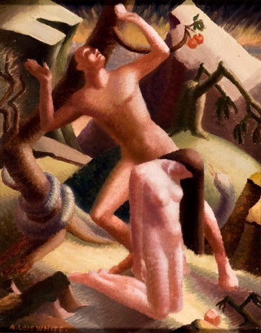 A. Lois White Expulsion c.1939. Oil on board. Collection of Christchurch Art Gallery Te Puna o Waiwhetū, purchased 2009