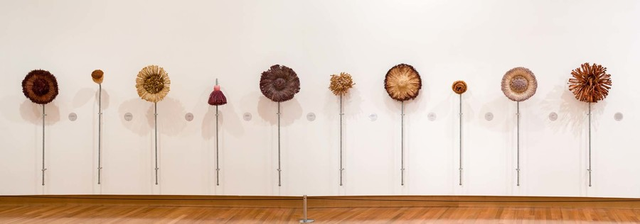 Julia Morison Teaching Aid #1: Appropriate brushes for large flower paintings 2001. String, plaster, resin, galvanised pipe and set of ten wall labels. Collection of Christchurch Art Gallery Te Puna o Waiwhetū, purchased 2008