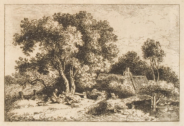 Figures Reclining Beneath Trees Near Bridge And Cottage