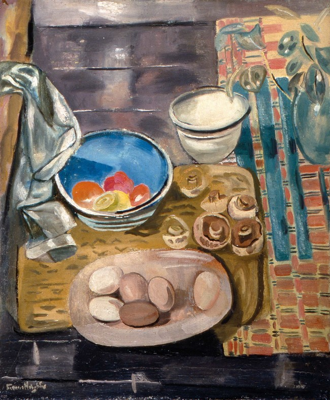 Frances Hodgkins Still Life with Eggs and Mushrooms c. 1929. Oil on canvas. Royal Pavilion and Museums, Brighton and Hove, gift of the Contemporary Arts Society, 1940