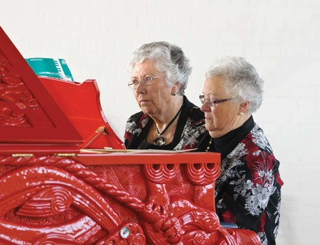 Piano teachers Lynley Clarke and Beryl Cowen (retired) played Michael Parekowhai's He Kōrero Pūrākau mo Te Awanui o Te Motu: story of a New Zealand river (2011. Te Papa, purchased 2011, with the assistance of the Friends of Te Papa. 2011-0046- 1/A-N to N-N) when it was installed at 212 Madras Street, Christchurch in 2012. The event was captured by Gallery photographer John Collie, and unknown to us at the time, by Barry Cleavin too.