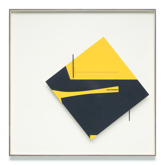 Don Peebles Relief Construction: yellow and black 1966. Painted wood on panel. Collection of Auckland Art Gallery Toi o Tāmaki, purchased 1966