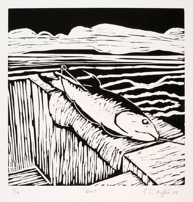Trevor Moffitt Bait 1988. Linocut. Collection of Christchurch Art Gallery Te Puna o Waiwhetū, reproduced with permission
