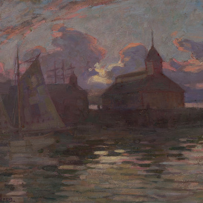 Archibald Nicoll Twilight Auckland Waterfront 1909. Oil on canvas board. Collection of Christchurch Art Gallery Te Puna o Waiwhetū, purchased 1984