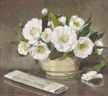Daisy Osborn From My Garden – White Camellias c.1951. Oil on canvas. Collection of Christchurch Art Gallery Te Puna o Waiwhetū, presented by the artist, 1953