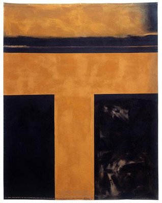 Colin McCahon The days and nights in the wilderness, showing the constant flow of light passing into a dark landscape (1971), acrylic on canvas. Collection Govett-Brewster Art Gallery.