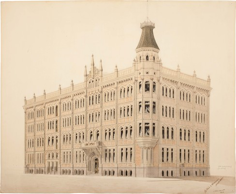 John Goddard Collins (Collins & Harman architects) The Press, perspective of new building c.1906. Pen and wash on paper. University of Canterbury, Macmillan Brown Library, Armson & Collins Collection MB1418/31564