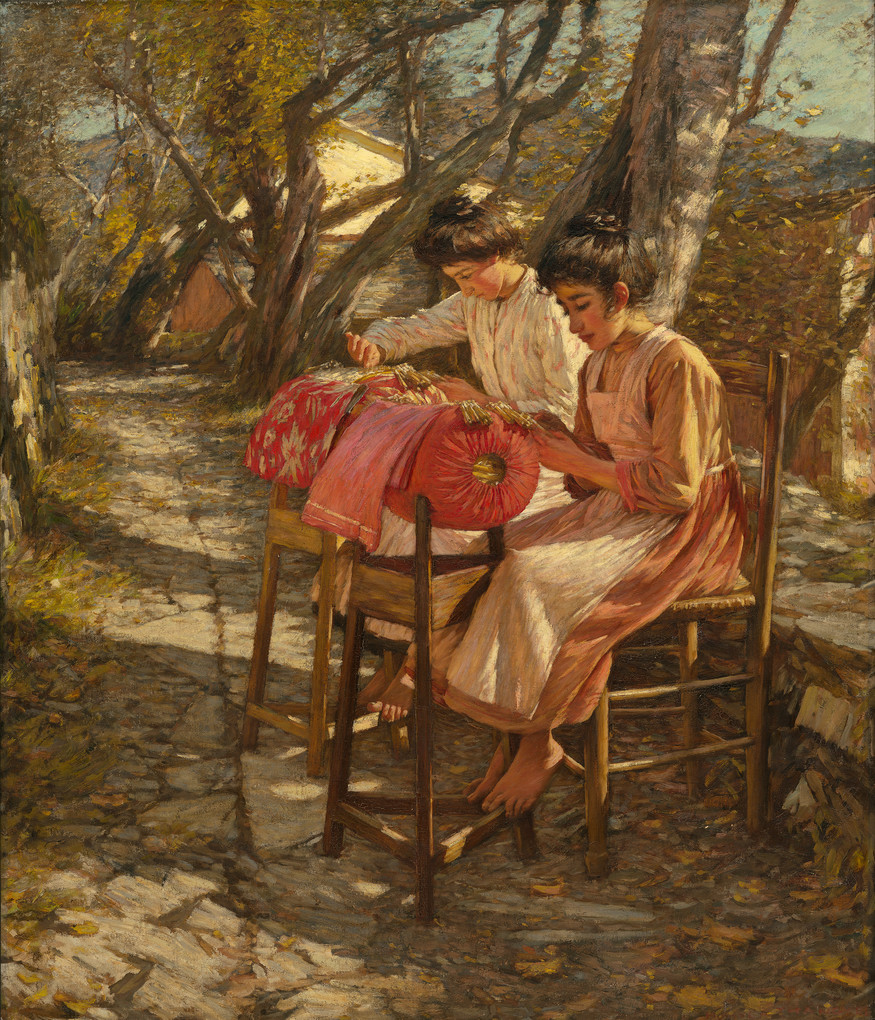 Henry H. La Thangue Making Ligurian Lace c.1905. Oil on canvas. Purchased by the Canterbury Society of Arts with the J.T. Peacock bequest 1912; presented to the city 1932
