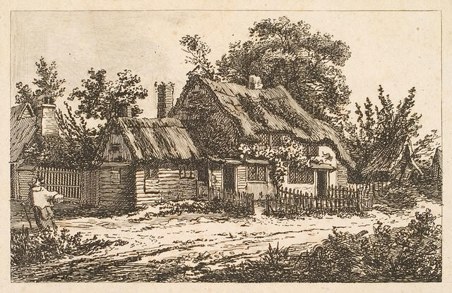 Cottage With Figure At Left