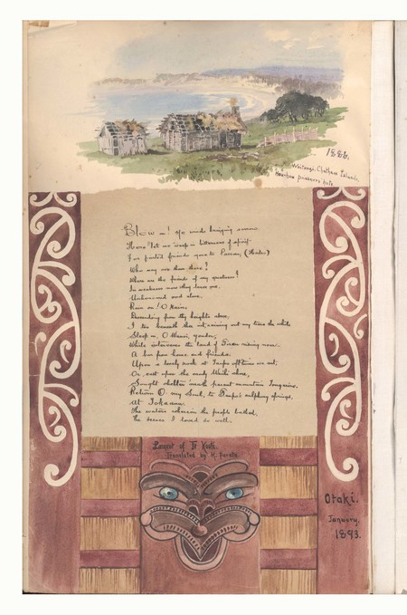 Margaret Stoddart The prisoners' huts on Orea flat, overlooking Waitangi Bay, Chatham Islands, 1886 (above) with the Lament of Te Kooti, translated by H. Parata at Ōtaki, January 1893. Album 2, Canterbury Museum, 2015.115.3-4, p.1