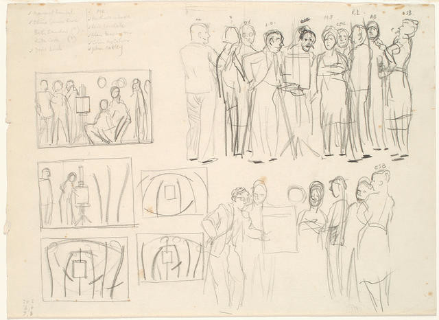 Compositional studies for 'Homage to Frances Hodgkins'