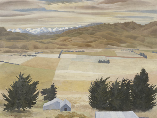 Willaim Sutton Hills and Plains, Waikari 1956. Oil on canvas board. Collection of Christchurch Art Gallery Te Puna o Waiwhetu, purchased 1989