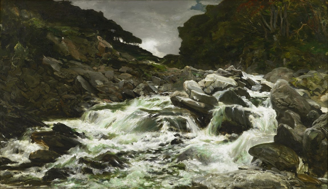 Petrus van der Velden A waterfall in the Otira Gorge 1891. Oil on canvas. Collection of Dunedin Public Art Gallery, purchased 1893