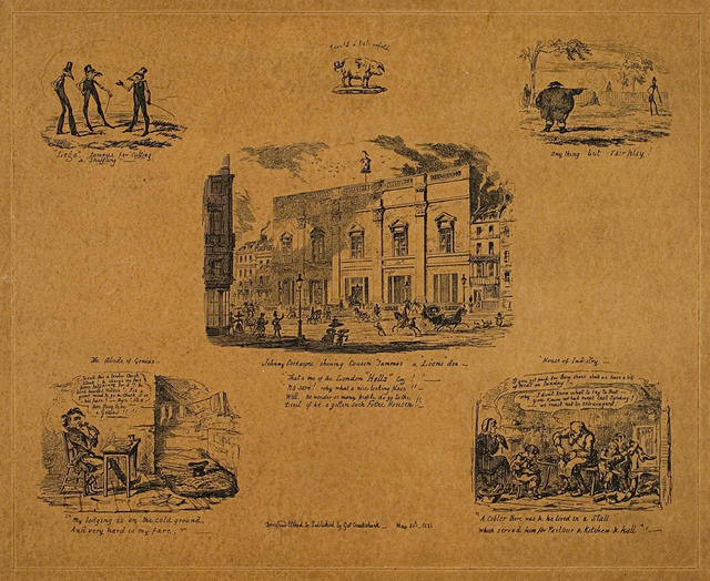 A Series of 5 small etchings on one sheet clockwise from top left: 'Legs famous for cutting & shuffling', 'Anything but fair play', 'House of industry', 'The abode of genius', 'Johnny Cockaigne showing cousin Tummas a lion's den'