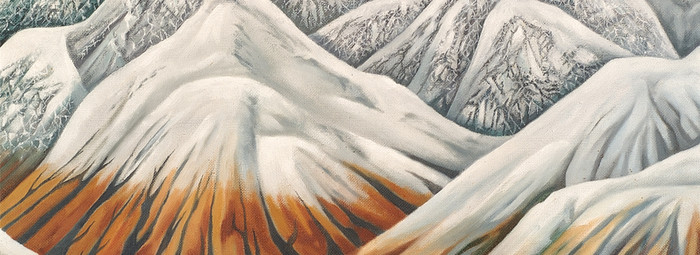 Leo Bensemann Pass in Winter (detail) 1971. Oil. Collection of Christchurch Art Gallery Te Puna o Waiwhetū. Harry Courtney Archer estate, 2002. Reproduced with permission